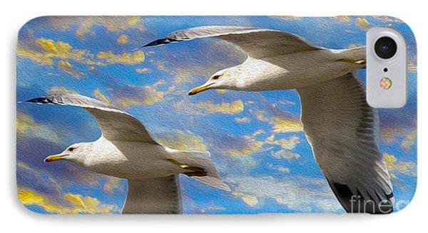 Seagulls In Flight IPhone Case by Jon Neidert