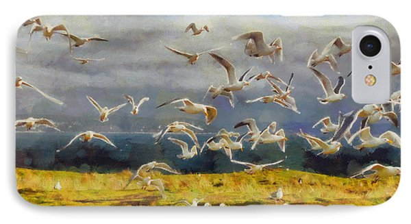 IPhone Case featuring the digital art Seagulls Of Protection Island by Kai Saarto