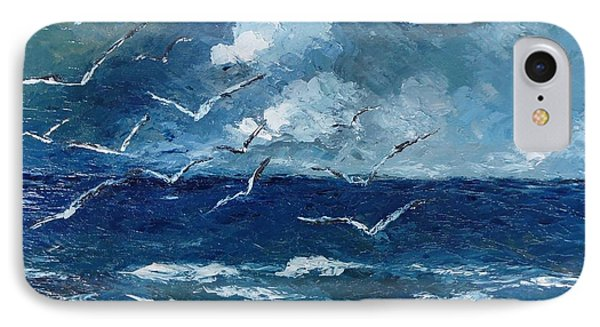 IPhone Case featuring the painting Seagulls Over Adriatic Sea by AmaS Art