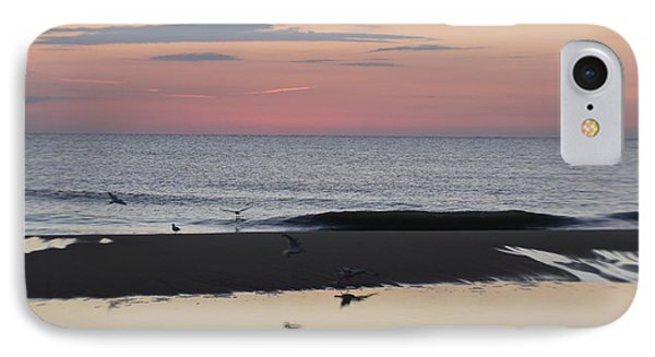 IPhone Case featuring the photograph Seagulls Sea And Sunrise by Robert Banach