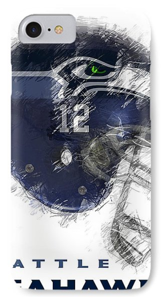 Seahawks 12 IPhone Case by Daniel Hagerman