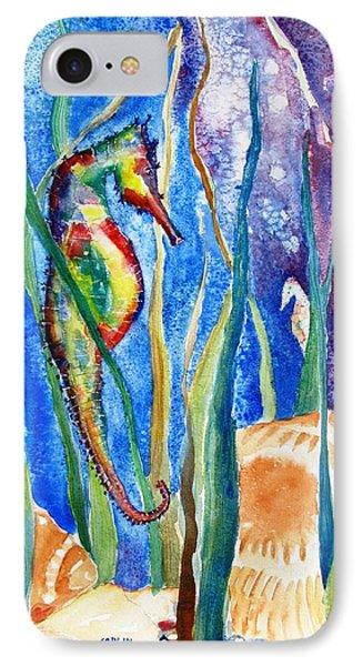 Seahorse iPhone 7 Case - Seahorse And Shells by Carlin Blahnik CarlinArtWatercolor