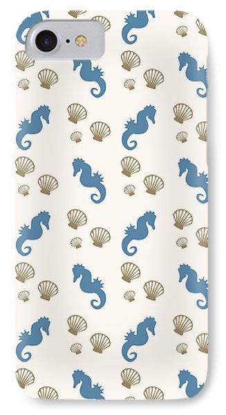 Seahorse And Shells Pattern IPhone 7 Case by Christina Rollo