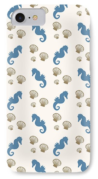 Seahorse And Shells Pattern IPhone Case by Christina Rollo