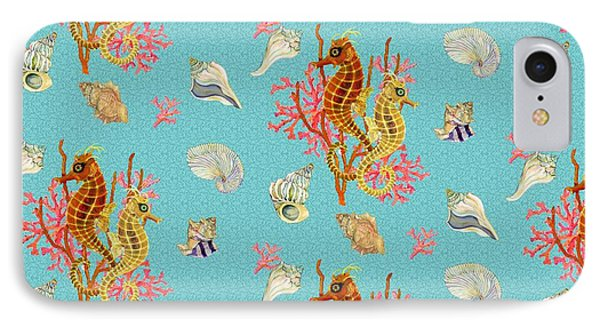 Seahorses Coral And Shells IPhone Case by Kimberly McSparran