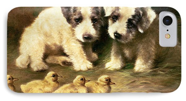 Sealyham Puppies And Ducklings IPhone Case by Lilian Cheviot