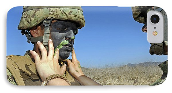 Seaman Has His Face Painted To Help Phone Case by Stocktrek Images