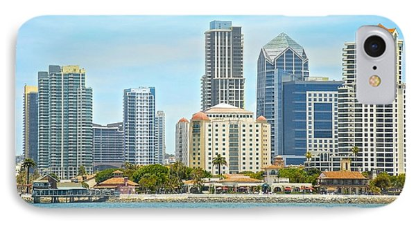 Seaport Village And Downtown San Diego Buildings IPhone Case by Claudia Ellis