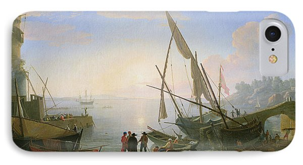Seaport With Sunset IPhone Case