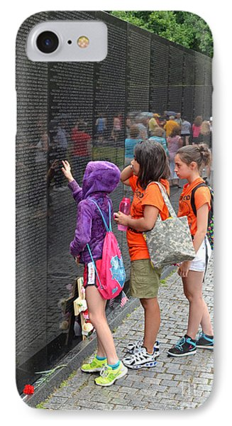 Searching A Loved Ones Name On The Vietnam Veterans Memorial Phone Case by Jim Fitzpatrick