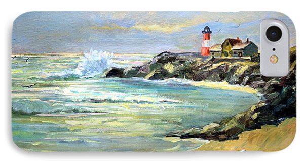 IPhone Case featuring the painting Seascape Lighthouse By Mary Krupa by Bernadette Krupa