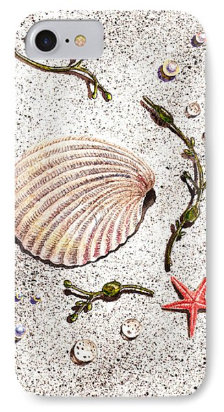Seashell Sea Star And Pearls On The Beach Phone Case by Irina Sztukowski