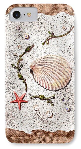Seashell With Pearls Sea Star And Seaweed  Phone Case by Irina Sztukowski