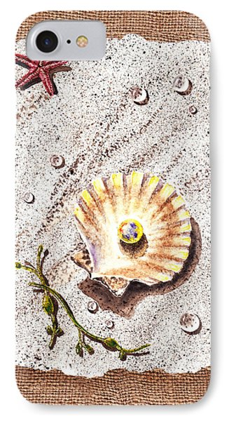 Seashell With The Pearl Sea Star And Seaweed  Phone Case by Irina Sztukowski