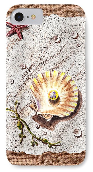 Seashell With The Pearl Sea Star And Seaweed  IPhone Case by Irina Sztukowski
