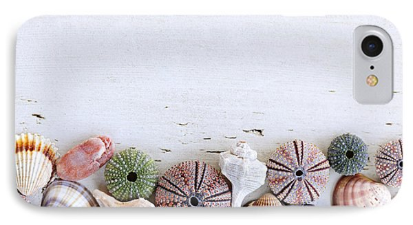 Seashells On Wood Background IPhone Case by Elena Elisseeva