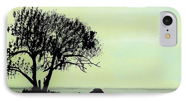 IPhone Case featuring the drawing Seashore Silhouette by D Hackett