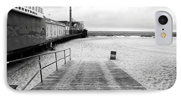 Seaside Heights Beach In Black And White Phone Case by John Rizzuto