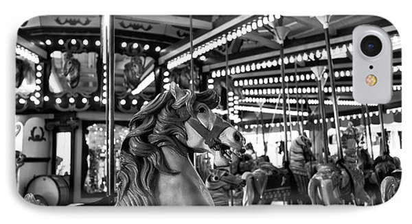 Seaside Heights Carousel Horse Mono IPhone Case by John Rizzuto