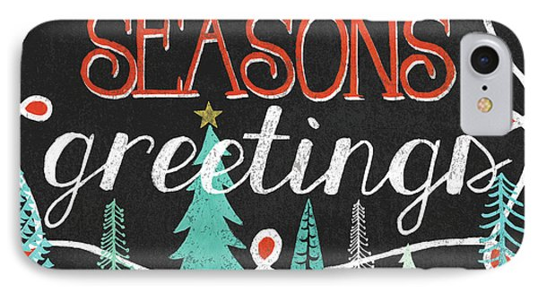 Seasons Greetings Black IPhone Case by Mary Urban