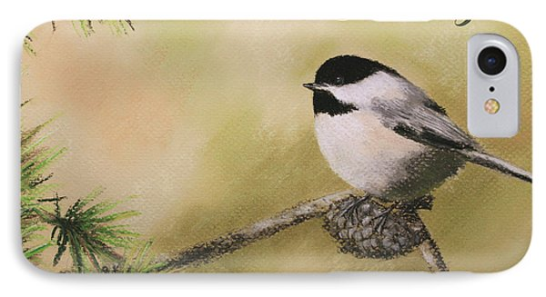 Season's Greetings Chickadee IPhone Case by Marna Edwards Flavell