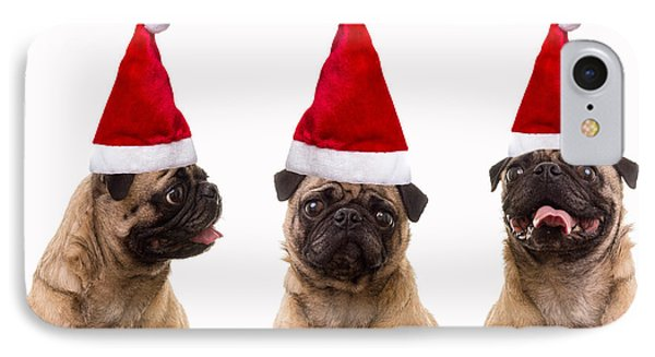 Seasons Greetings Christmas Caroling Pug Dogs Wearing Santa Claus Hats IPhone Case by Edward Fielding