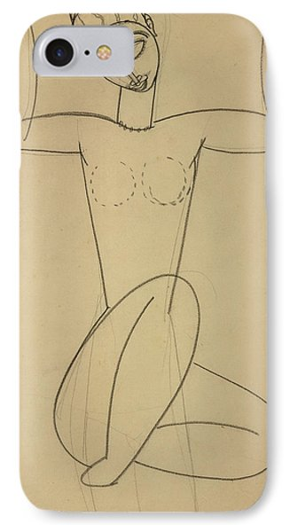 Seated Caryatid IPhone Case by Amedeo Modigliani