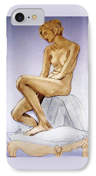 IPhone Case featuring the drawing Seated Female Nude Dreaming by Greta Corens