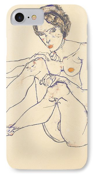 Seated Female Nude Phone Case by Egon Schiele