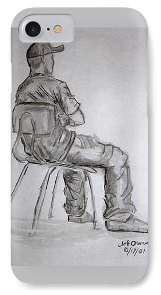 Seated Man In Ball Cap Phone Case by Jeffrey Oleniacz