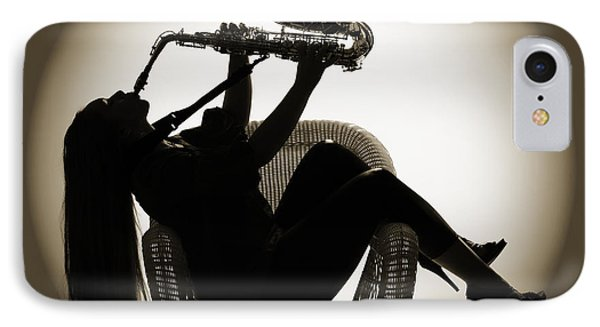 Seated Saxophone Playere IPhone Case