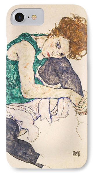 Seated Woman With Legs Drawn Up. Adele Herms IPhone 7 Case by Egon Schiele