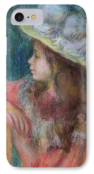 Seated Young Girl In A White Hat IPhone Case by Pierre Auguste Renoir