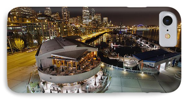 IPhone Case featuring the photograph Seattle City Skyline And Marina At Night by JPLDesigns