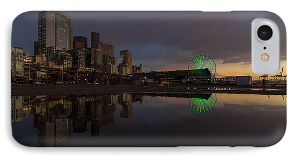 Seattle Cityscape And The Wheel Phone Case by Mike Reid