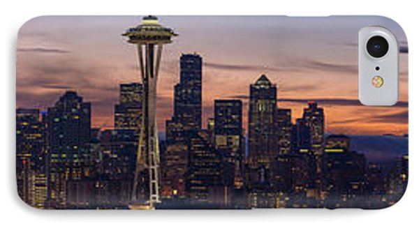 Seattle Cityscape Morning Light IPhone Case by Mike Reid