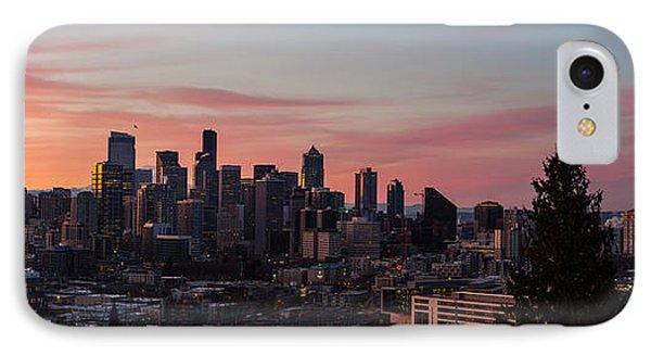 Seattle Cityscape Sunrise IPhone Case by Mike Reid