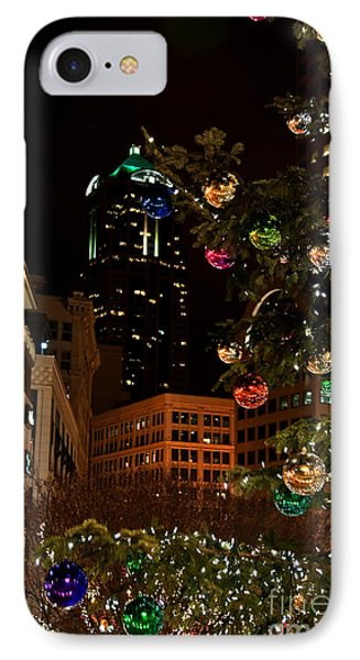 IPhone Case featuring the photograph Seattle Downtown Christmas Time Art Prints by Valerie Garner