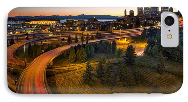 IPhone Case featuring the photograph Seattle Downtown Highway Traffic Light Trails by JPLDesigns