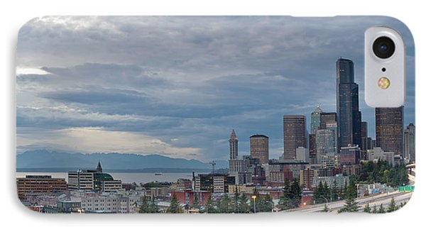 IPhone Case featuring the photograph Seattle Downtown Skyline And Freeway Panorama by JPLDesigns