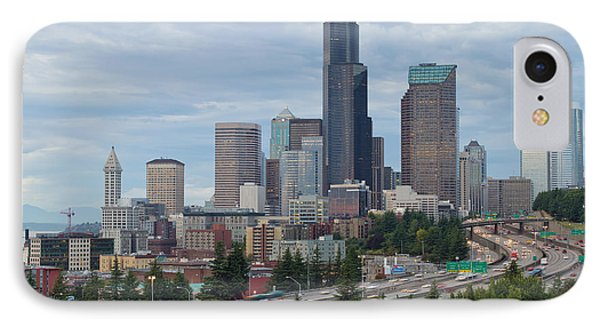IPhone Case featuring the photograph Seattle Downtown Skyline On A Cloudy Day by JPLDesigns