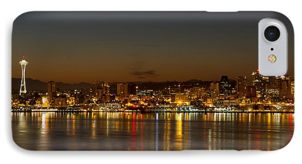 IPhone Case featuring the photograph Seattle Downtown Skyline Reflection At Dawn by JPLDesigns
