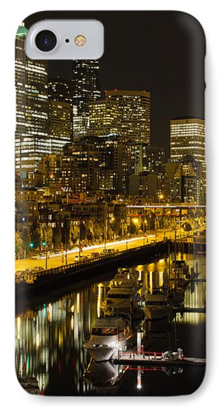 IPhone Case featuring the photograph Seattle Downtown Waterfront Skyline At Night by JPLDesigns