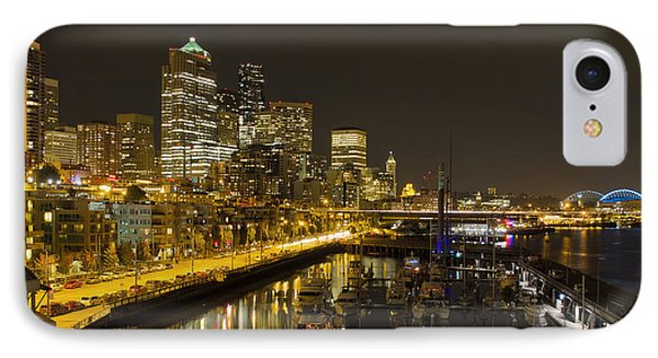 IPhone Case featuring the photograph Seattle Downtown Waterfront Skyline At Night Reflection by JPLDesigns