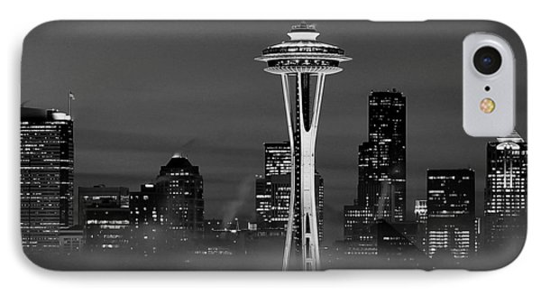 Seattle Morning Mist Black And White Phone Case by Benjamin Yeager