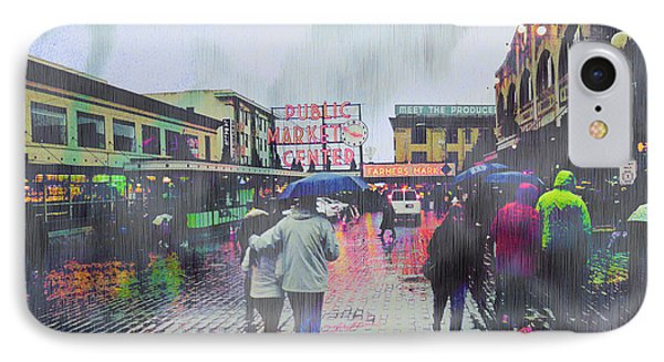 Seattle Public Market In Rain IPhone Case