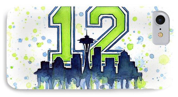 Seattle Seahawks 12th Man Art IPhone 7 Case by Olga Shvartsur