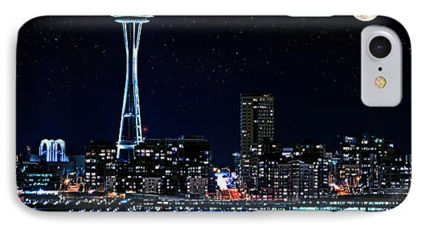 Seattle Skyline At Night With Full Moon IPhone Case by Valerie Garner