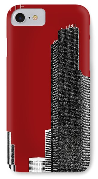 Seattle Skyline Columbia Tower - Dark Red IPhone Case by DB Artist
