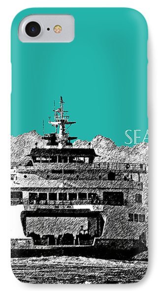 Seattle Skyline Ferry - Teal IPhone Case